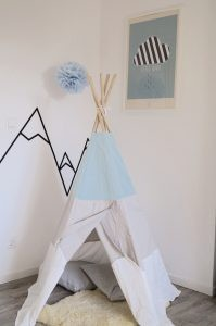 Kinderzimmer Tipi Sebra DIY Wandgestaltung Berge Masking Tape